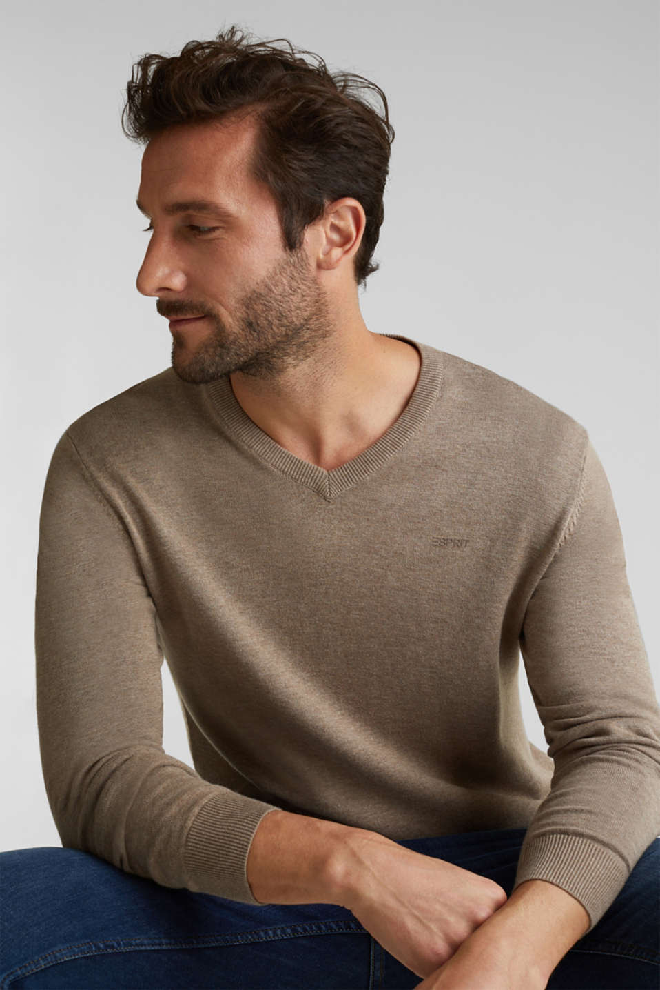 V-neck jumper, 100% cotton, BEIGE, detail image number 0