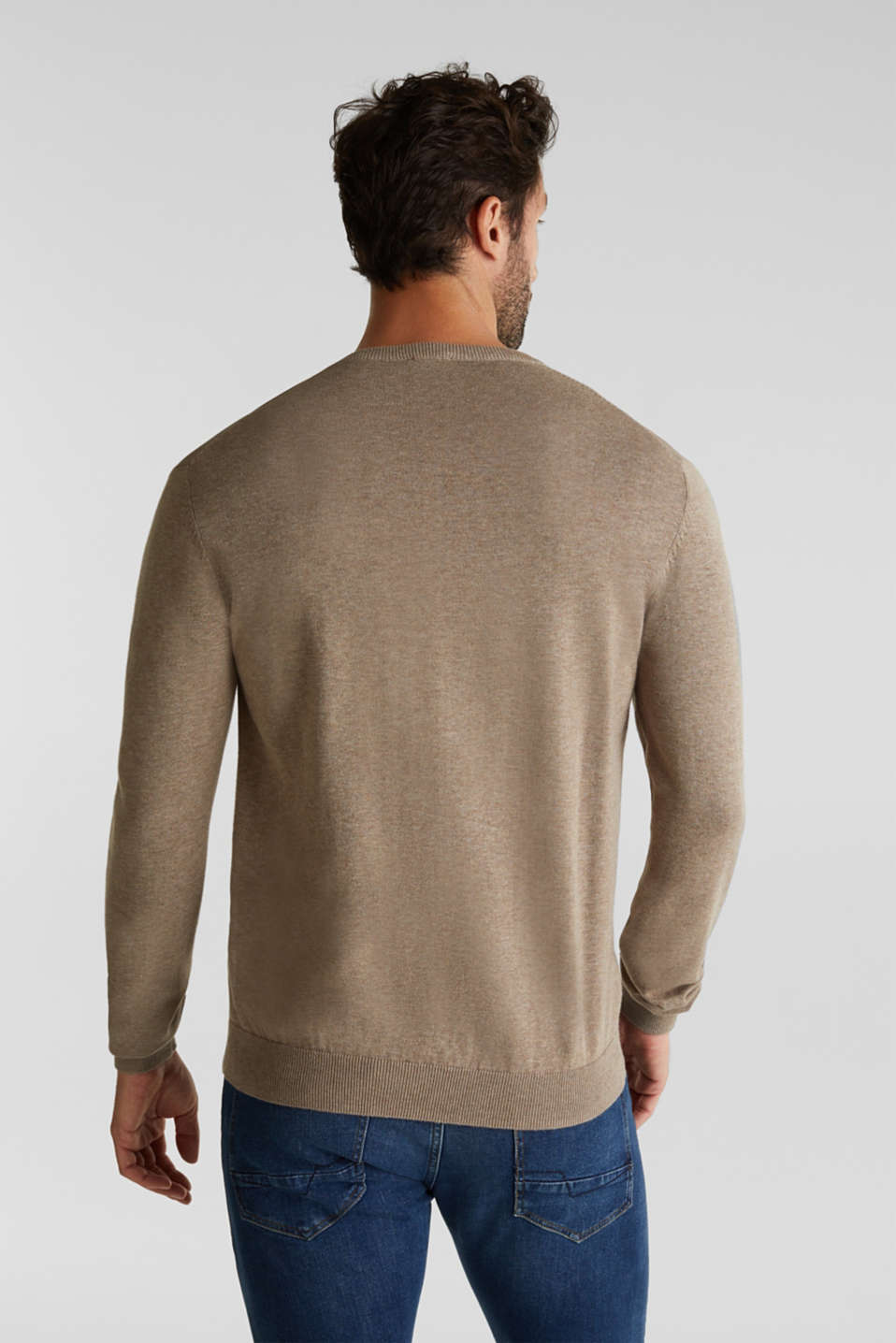 V-neck jumper, 100% cotton, BEIGE, detail image number 3