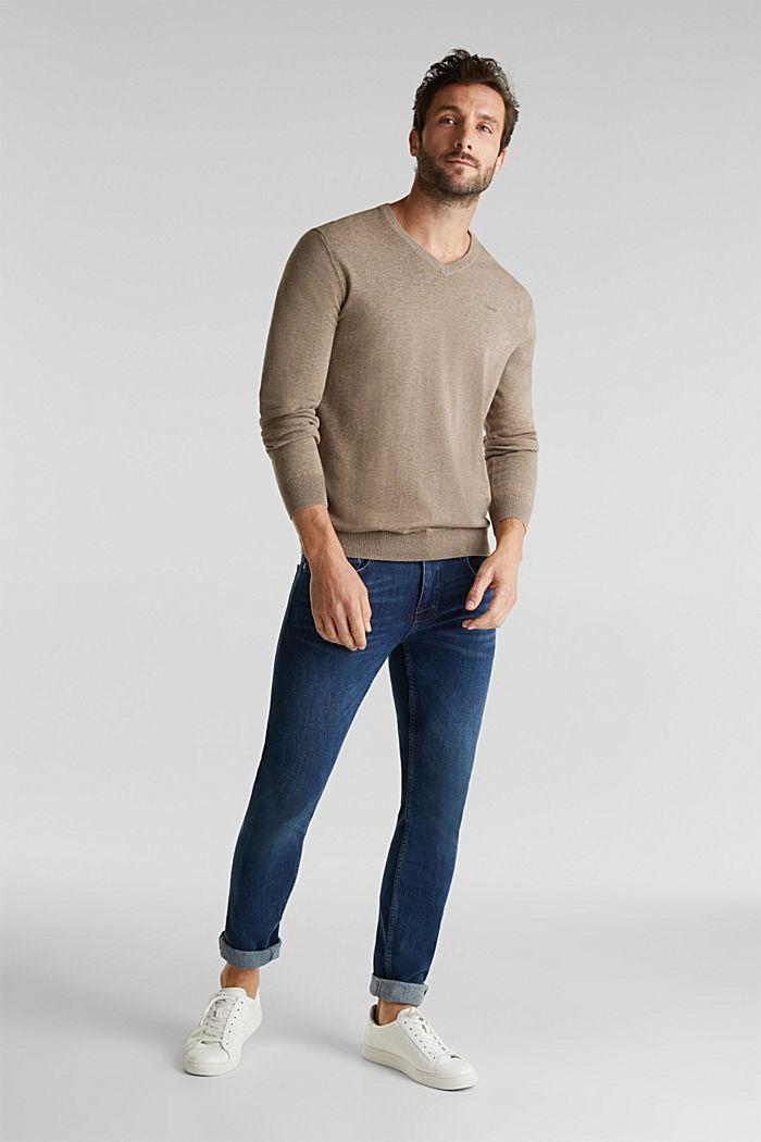 V-Neck-Pullover, 100% Baumwolle, BEIGE, detail image number 1