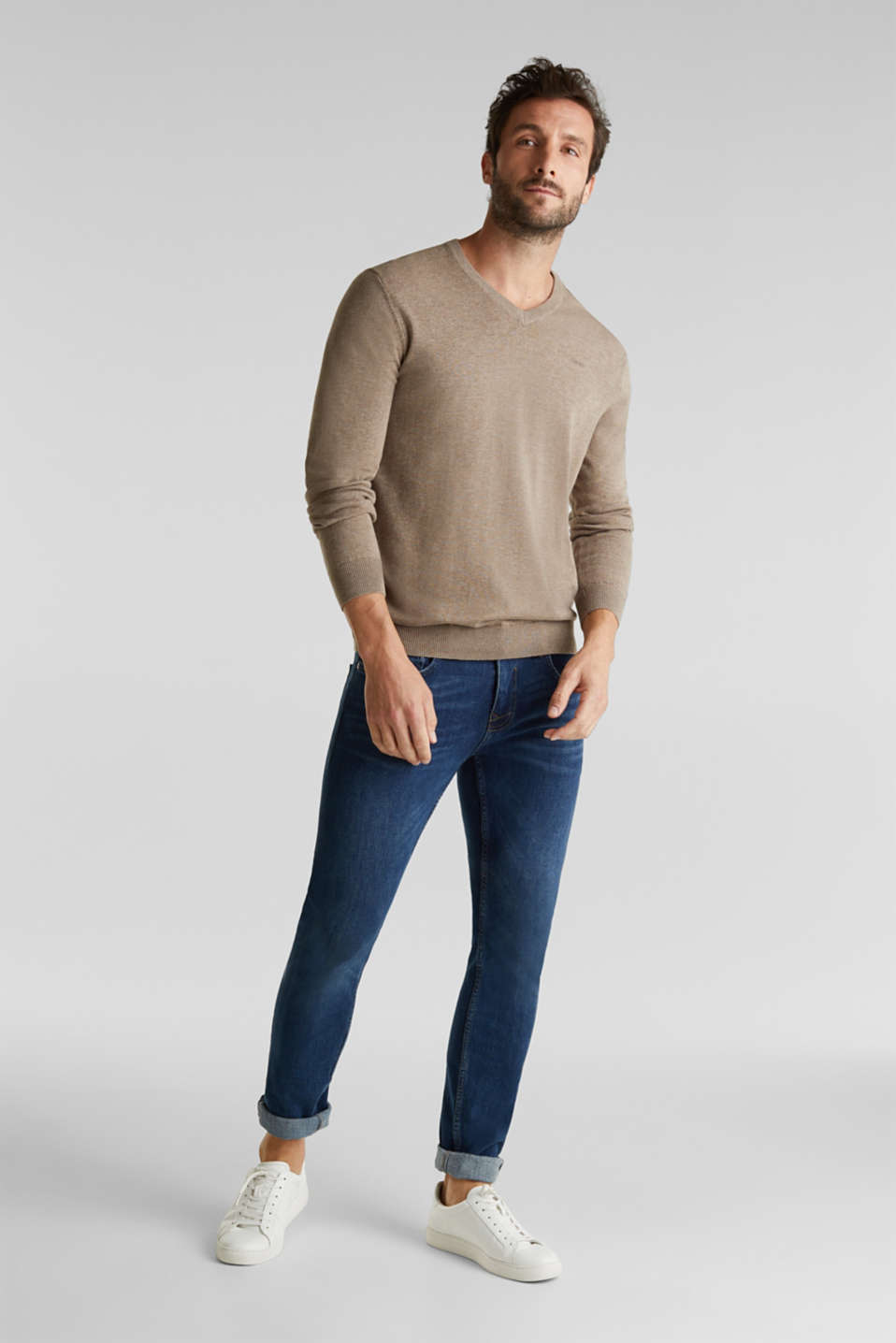 V-neck jumper, 100% cotton, BEIGE, detail image number 1