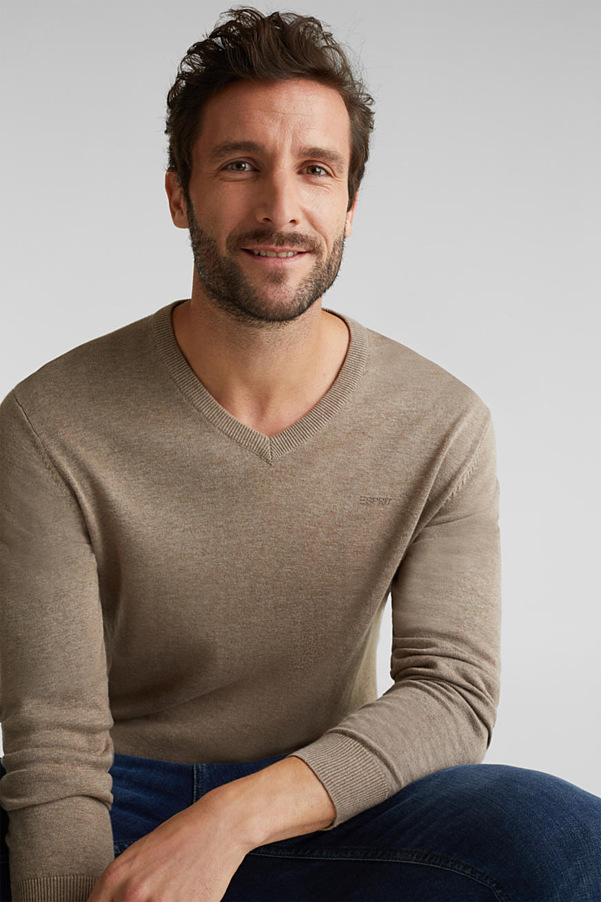 V-neck jumper, 100% cotton