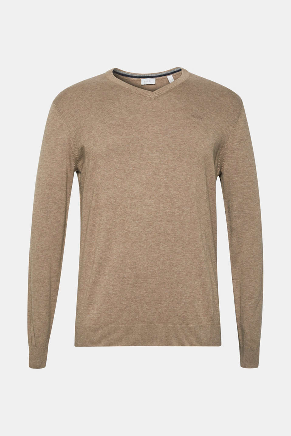 V-neck jumper, 100% cotton, BEIGE, detail image number 6