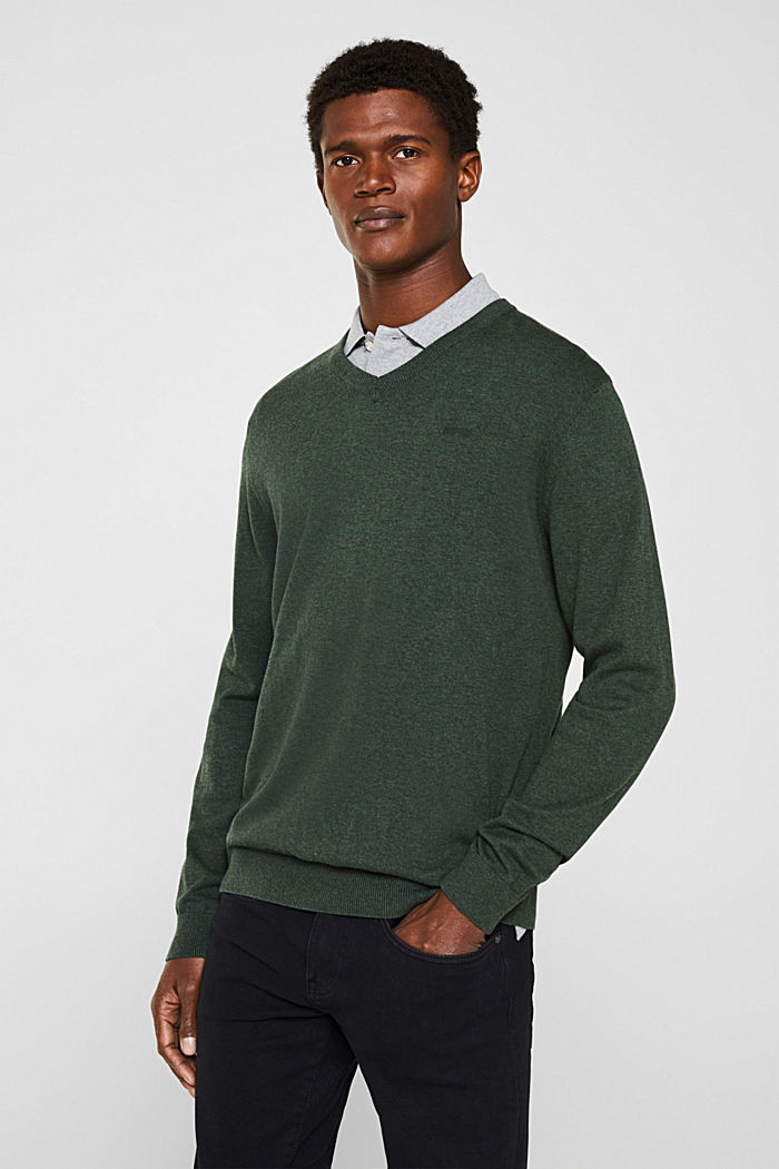 V-neck jumper, 100% cotton, DARK GREEN, detail image number 0