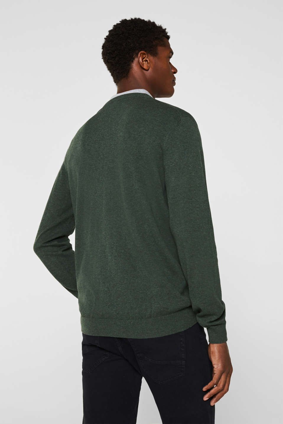 V-neck jumper, 100% cotton, DARK GREEN, detail image number 2