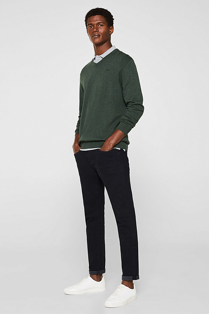V-neck jumper, 100% cotton, DARK GREEN, detail image number 7
