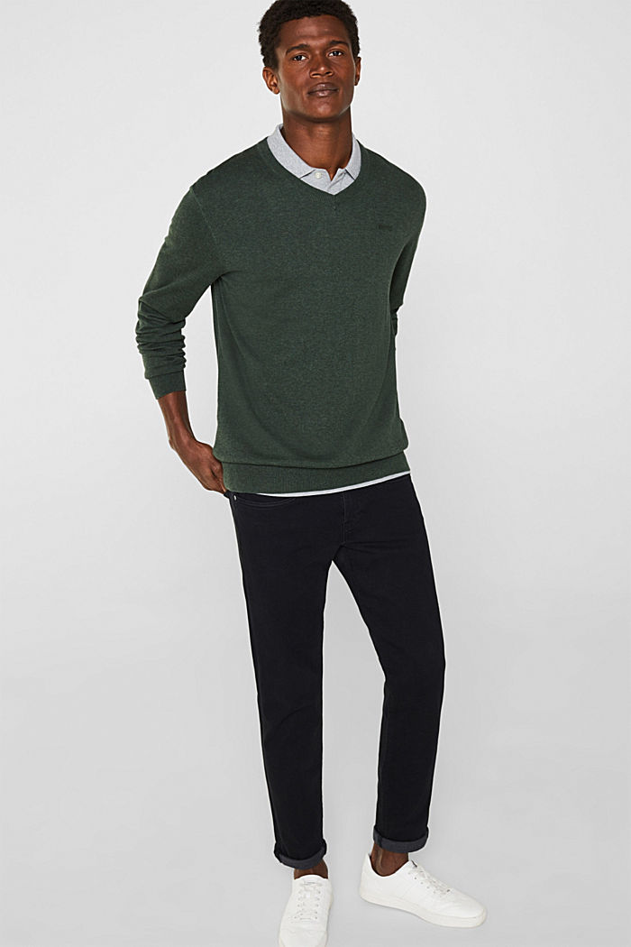 V-neck jumper, 100% cotton, DARK GREEN, detail image number 1