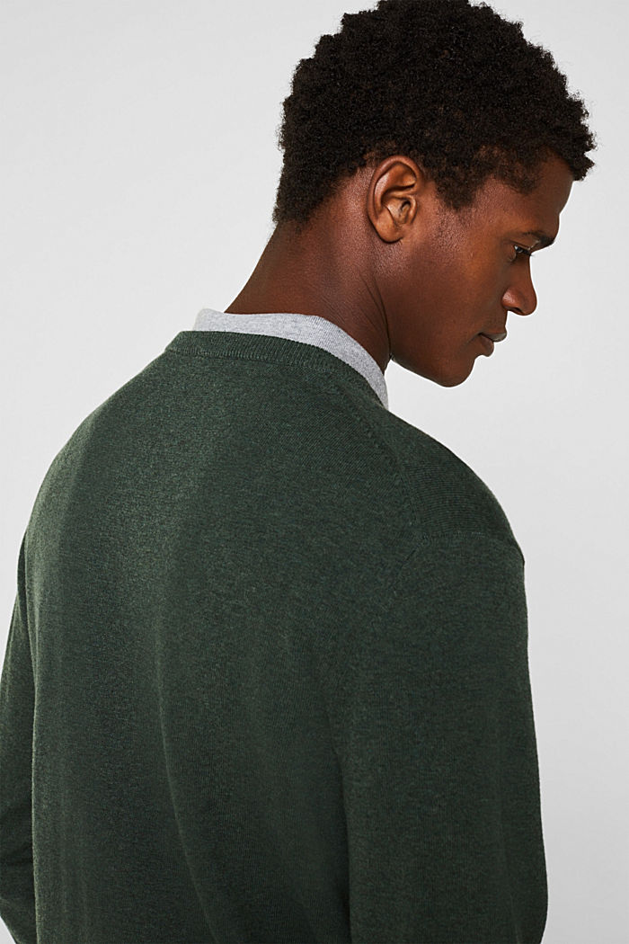 V-neck jumper, 100% cotton, DARK GREEN, detail image number 5