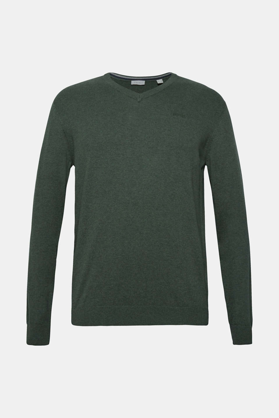 V-neck jumper, 100% cotton, DARK GREEN, detail image number 6