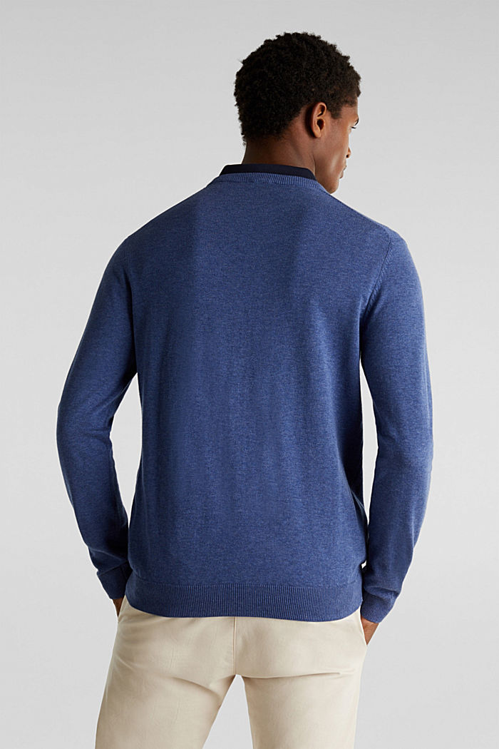 V-Neck-Pullover, 100% Baumwolle, DARK BLUE, detail image number 2