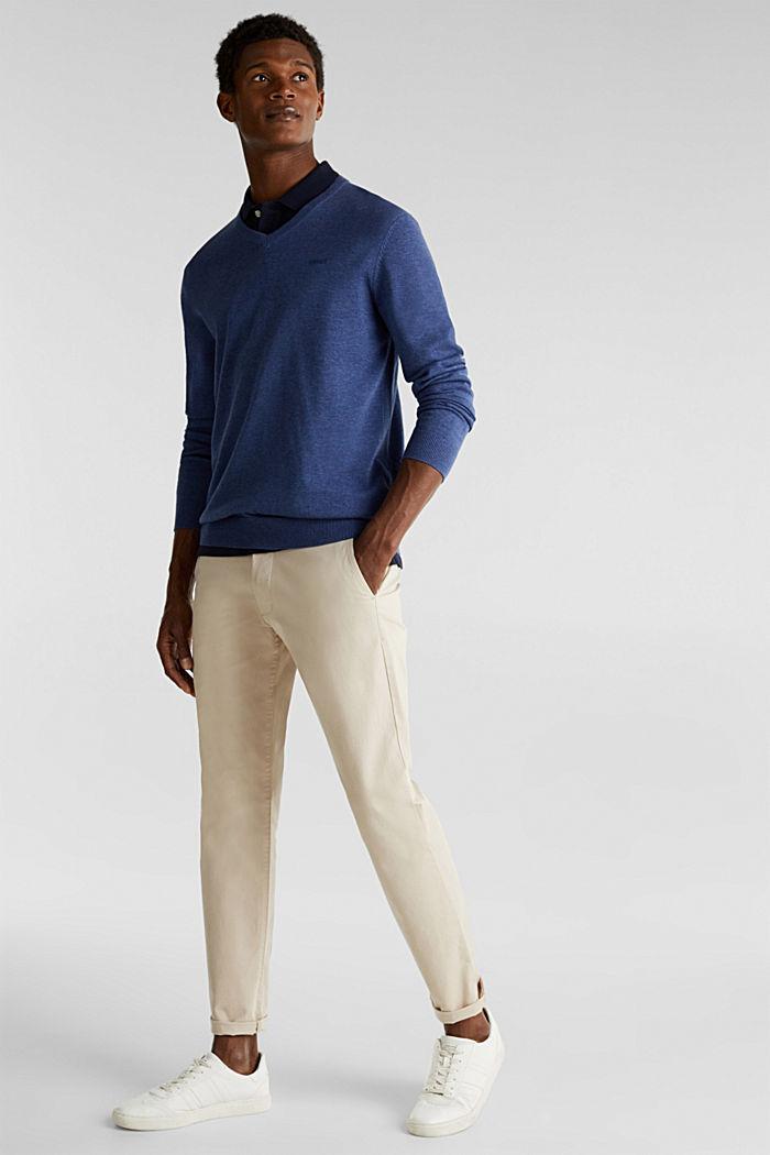 V-Neck-Pullover, 100% Baumwolle, DARK BLUE, detail image number 1