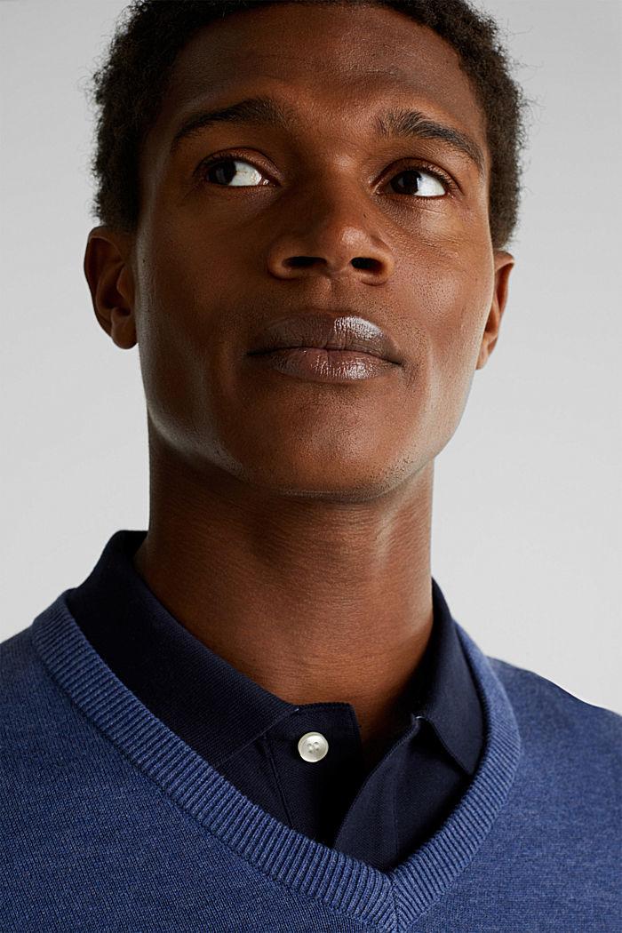 V-Neck-Pullover, 100% Baumwolle, DARK BLUE, detail image number 4