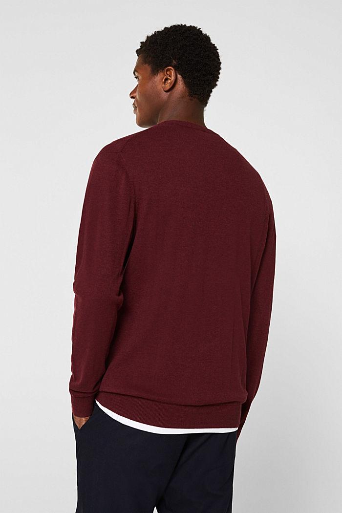 V-neck jumper, 100% cotton, DARK RED, detail image number 3