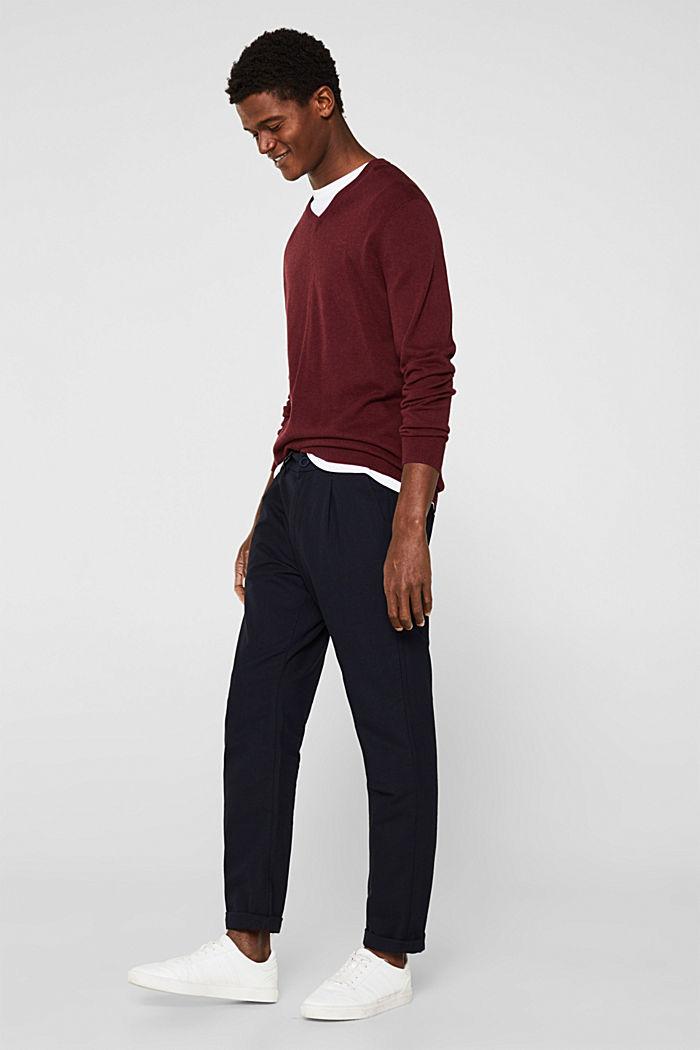 V-neck jumper, 100% cotton, DARK RED, detail image number 1