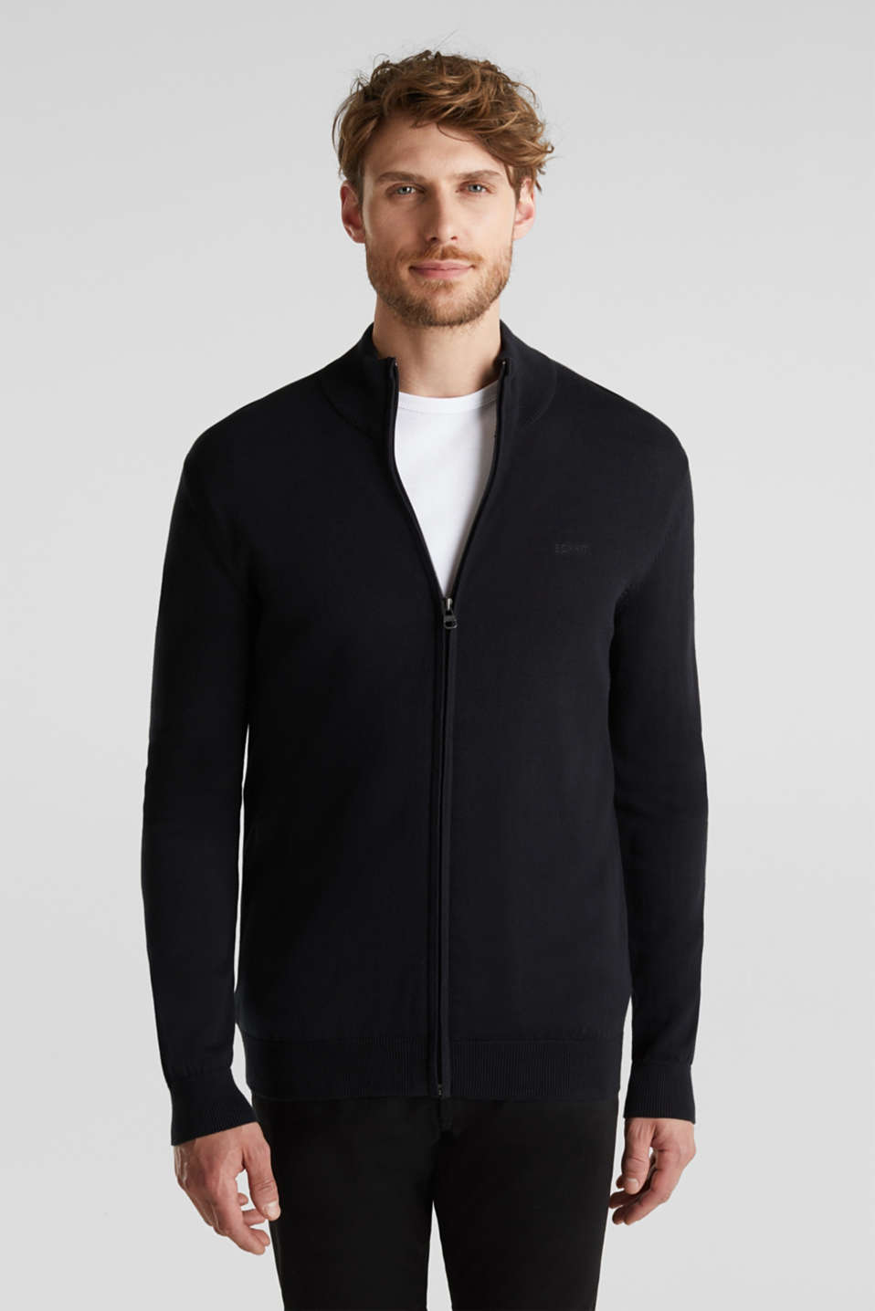 Cardigan in 100% cotton, BLACK, detail image number 0