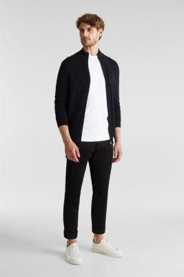 Cardigan in 100% cotton, BLACK, detail