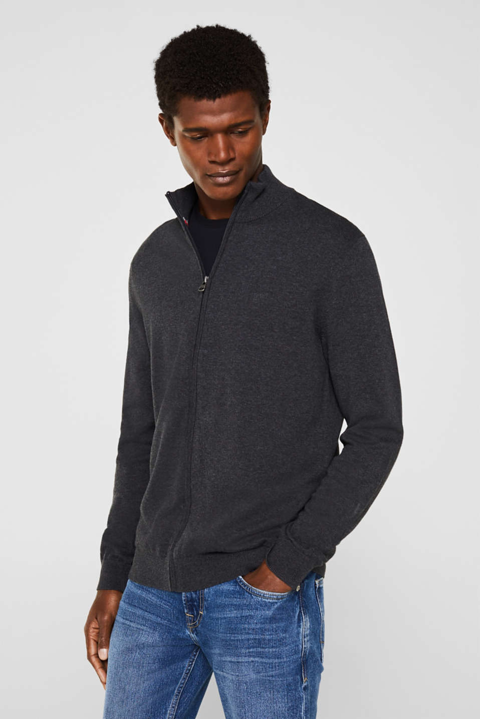 Cardigan in 100% cotton, ANTHRACITE, detail image number 0