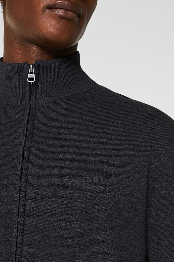 Cardigan in 100% cotton, ANTHRACITE, detail image number 6