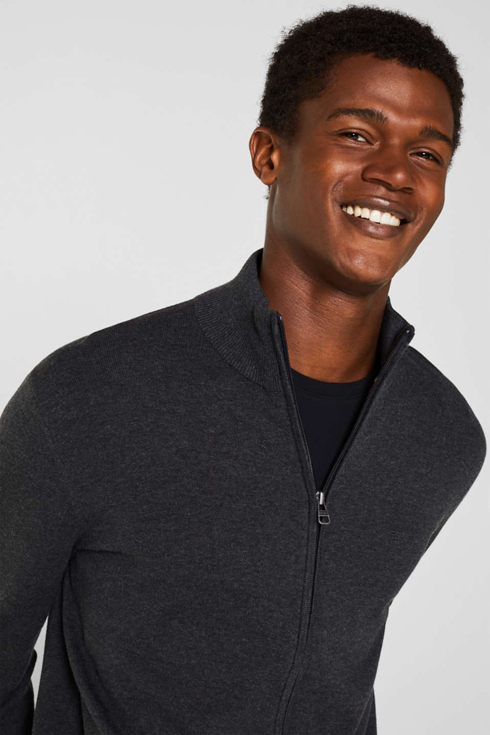 Cardigan in 100% cotton, ANTHRACITE, detail image number 5