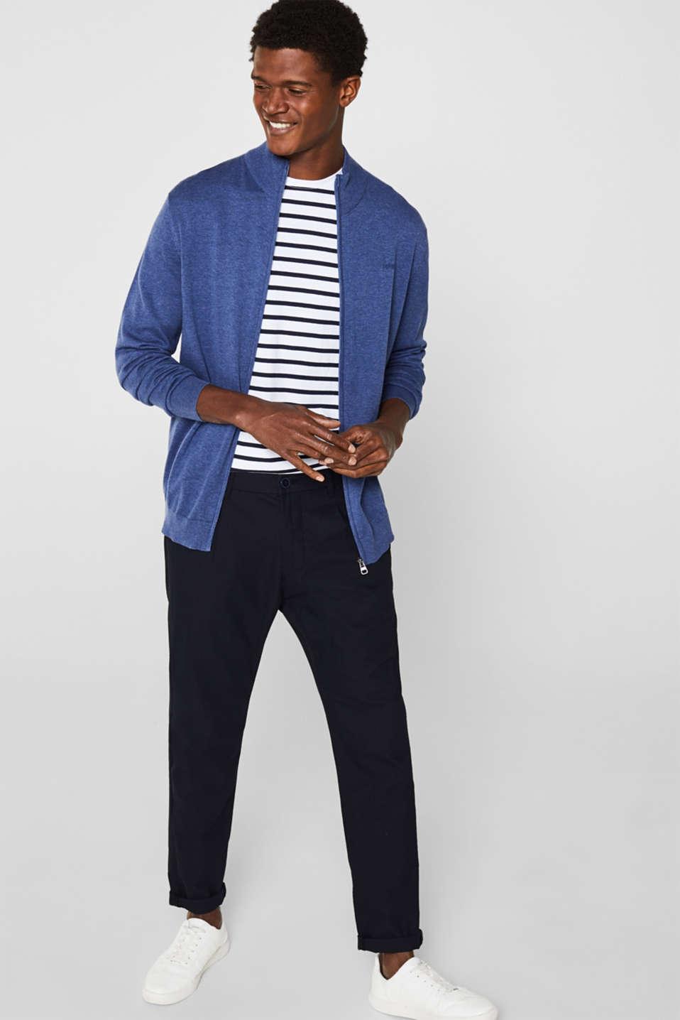 Cardigan in 100% cotton, DARK BLUE, detail image number 1