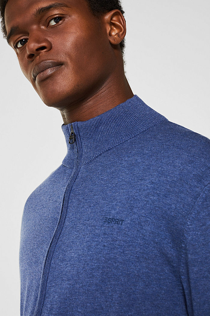 Cardigan in 100% cotton, DARK BLUE, detail image number 4