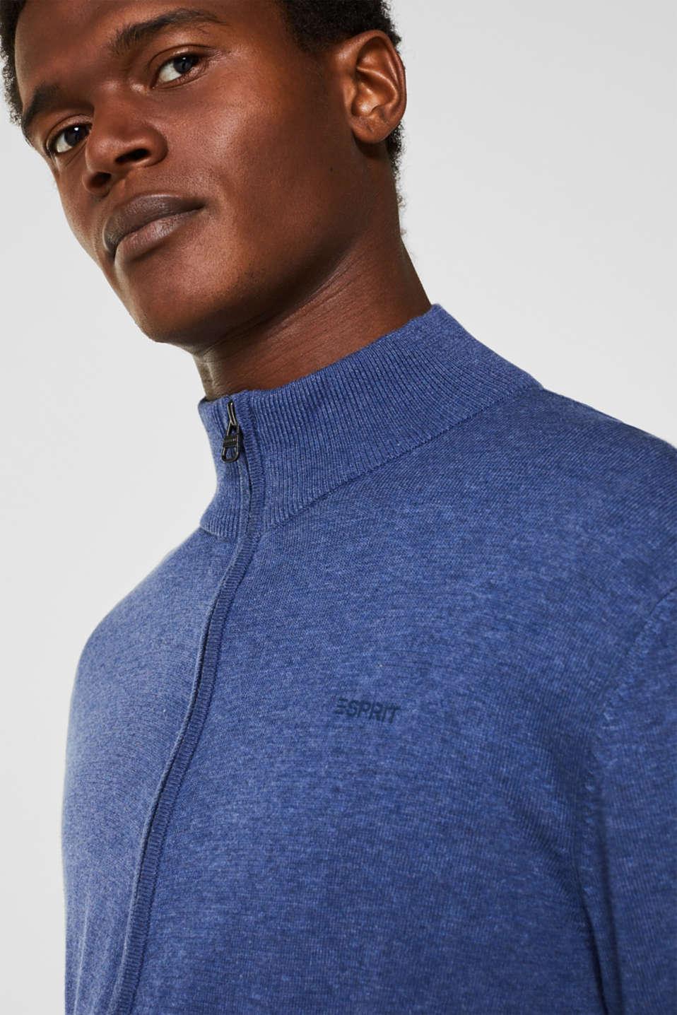 Cardigan in 100% cotton, DARK BLUE, detail image number 4