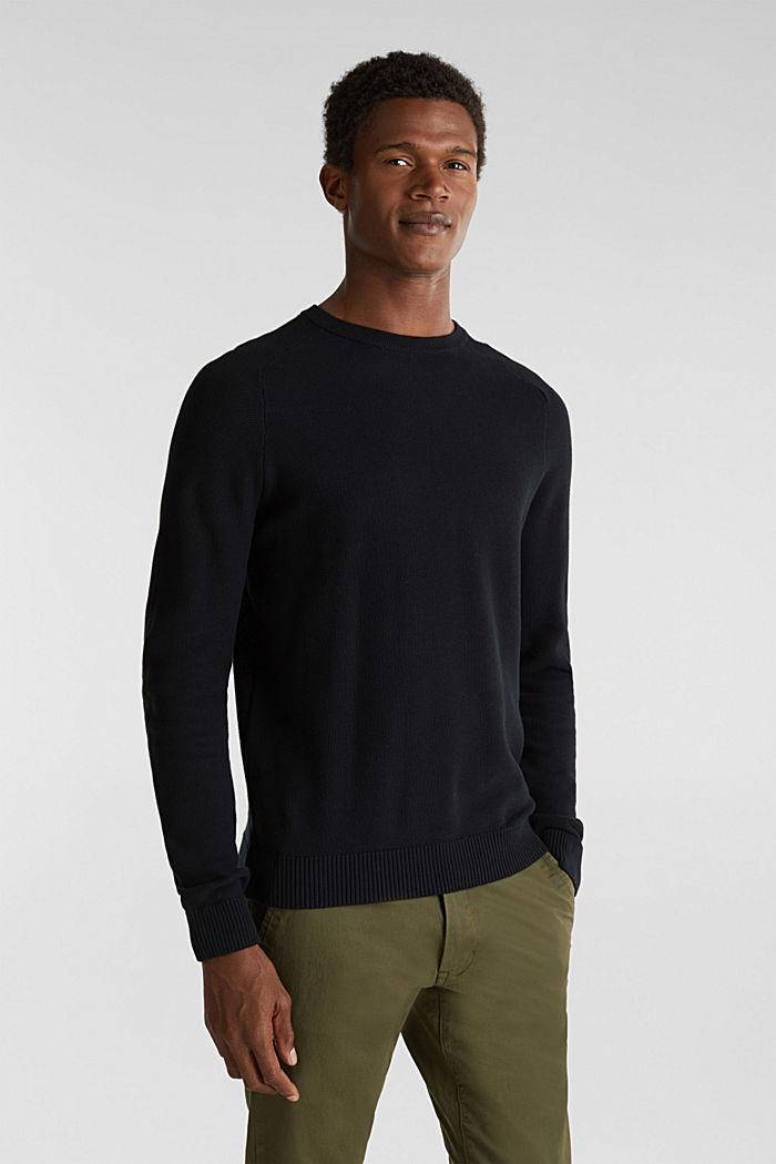 Piqué-Pullover, 100% Baumwolle, BLACK, detail image number 0
