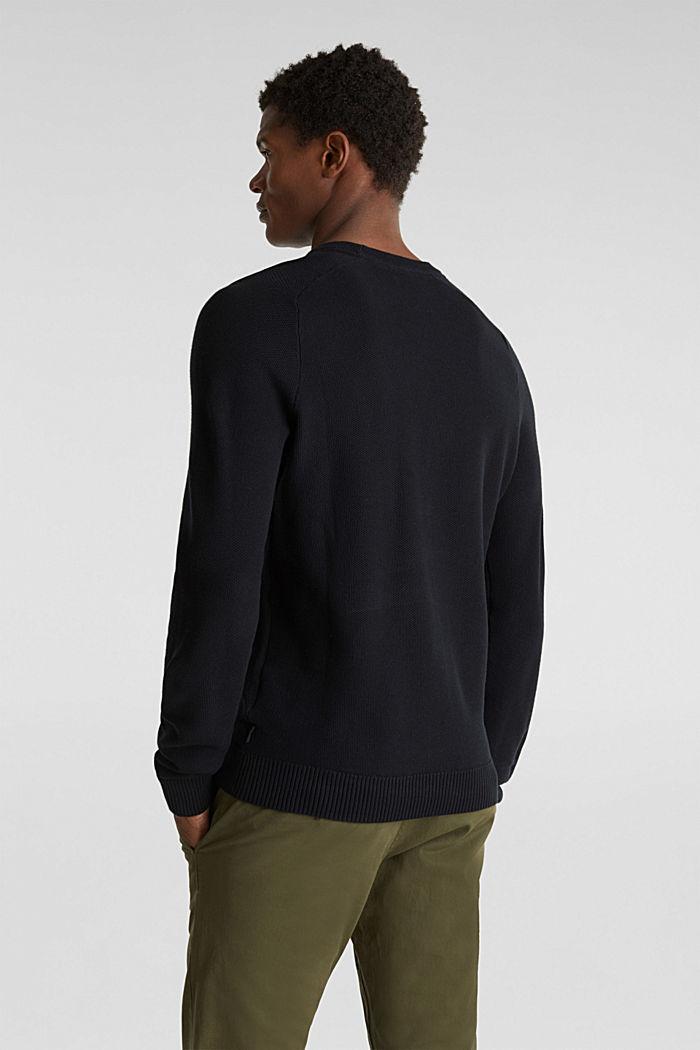 Piqué-Pullover, 100% Baumwolle, BLACK, detail image number 2