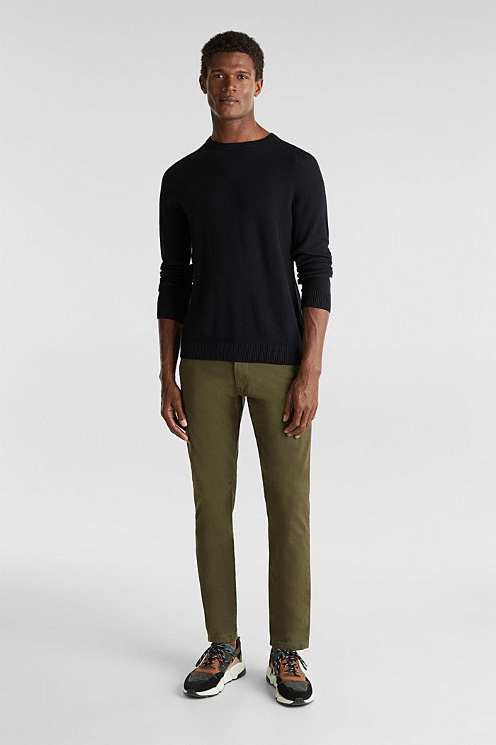 Piqué-Pullover, 100% Baumwolle, BLACK, detail image number 1