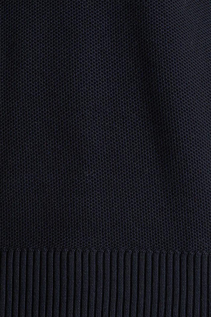 Piqué-Pullover, 100% Baumwolle, BLACK, detail image number 3