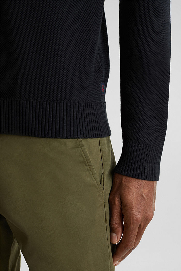 Piqué-Pullover, 100% Baumwolle, BLACK, detail image number 4