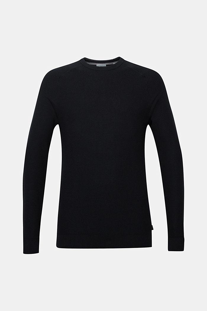 Piqué-Pullover, 100% Baumwolle, BLACK, detail image number 5