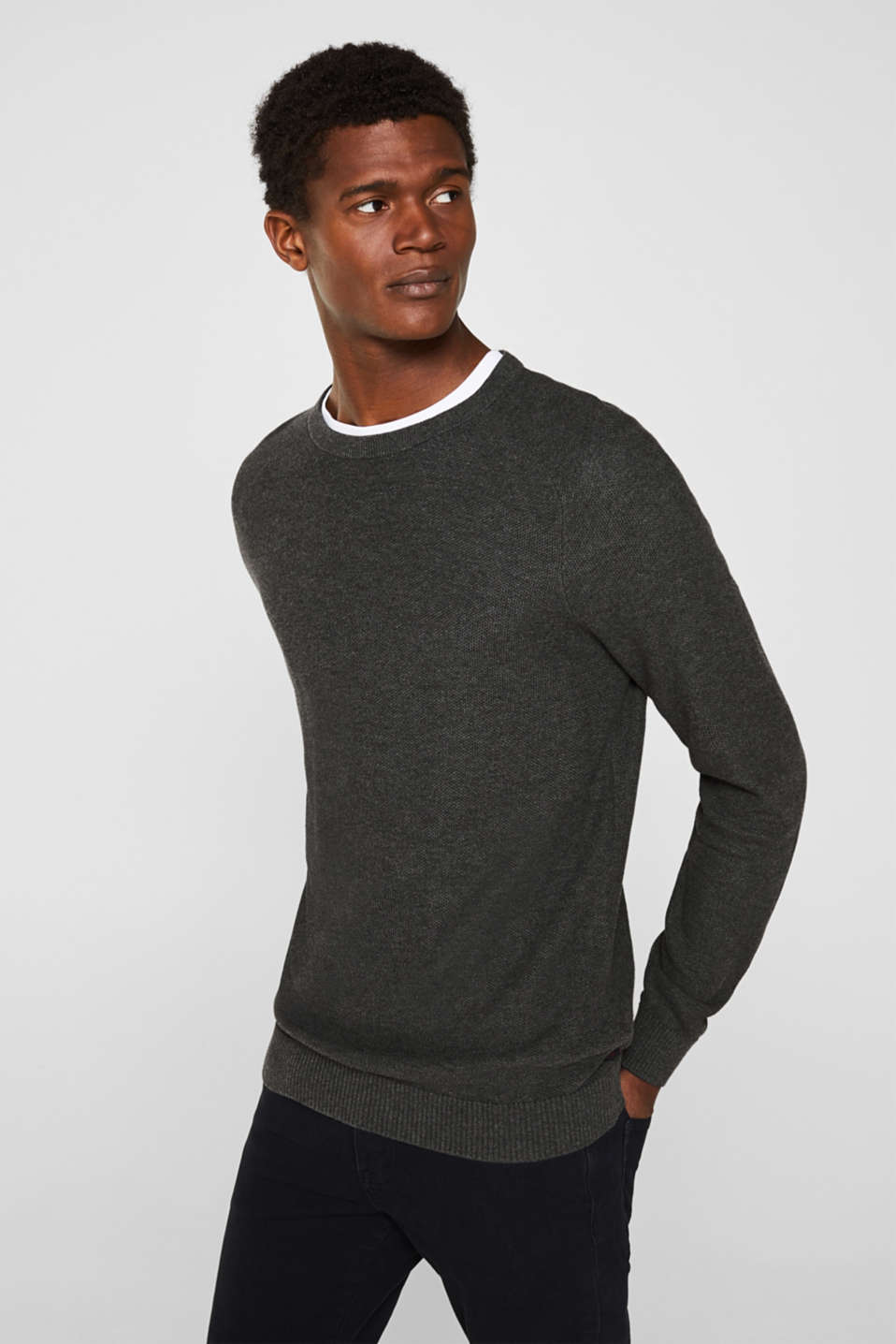 Jumper with a waffle pattern, 100% cotton, DARK GREY, detail image number 0