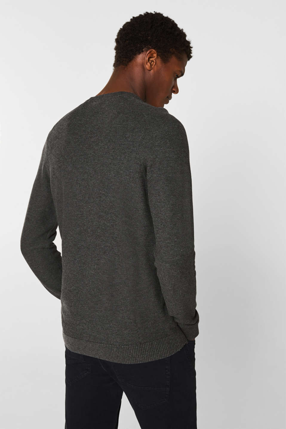 Jumper with a waffle pattern, 100% cotton, DARK GREY, detail image number 3