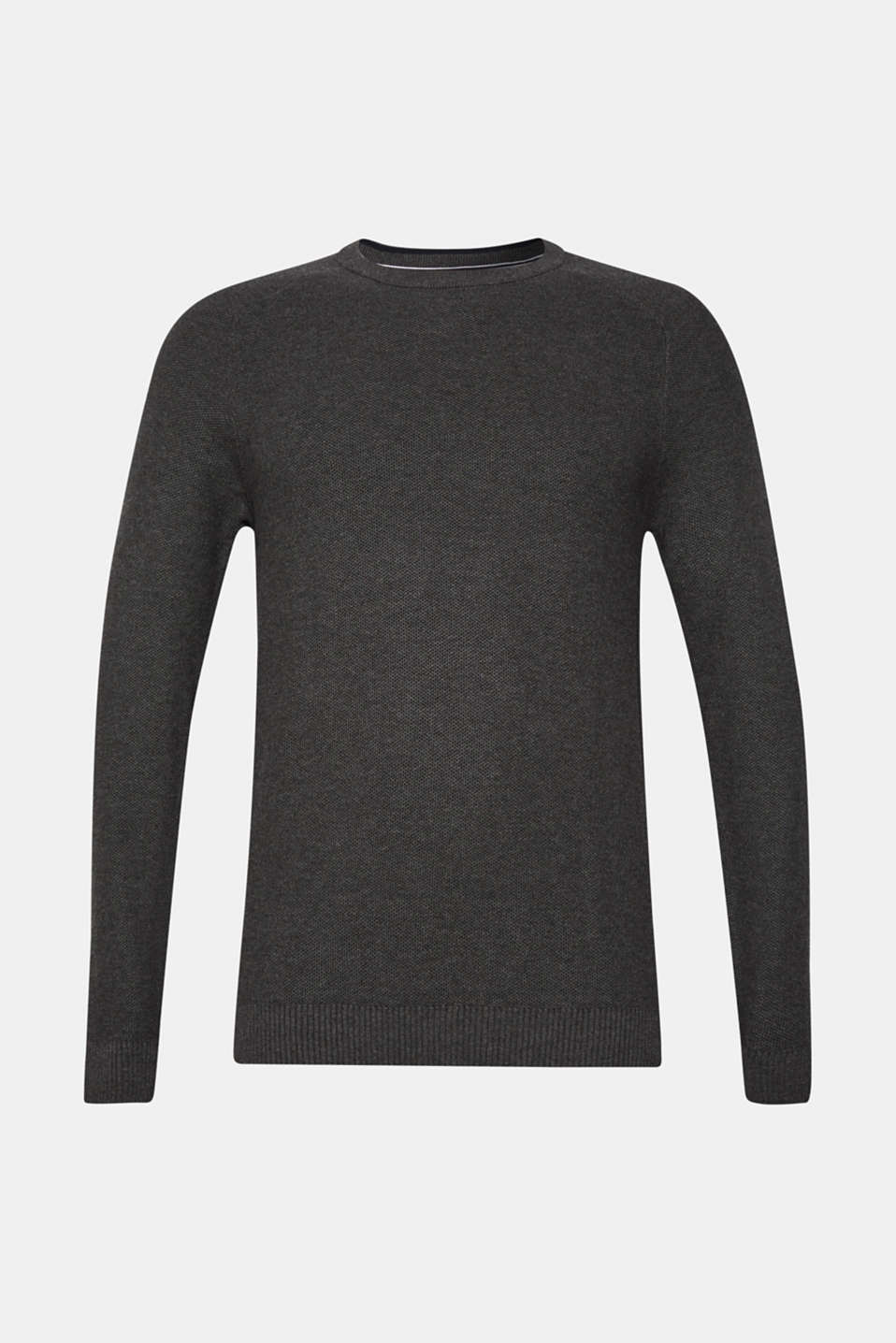 Jumper with a waffle pattern, 100% cotton, DARK GREY, detail image number 6