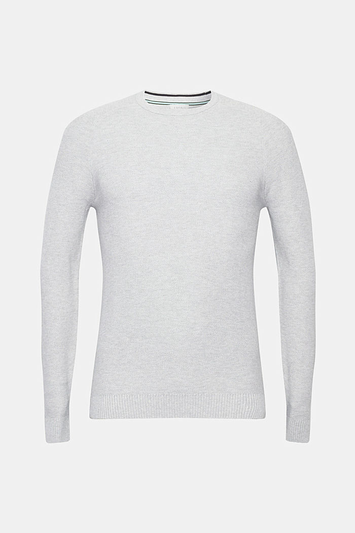 Piqué-Pullover, 100% Baumwolle, LIGHT GREY, overview