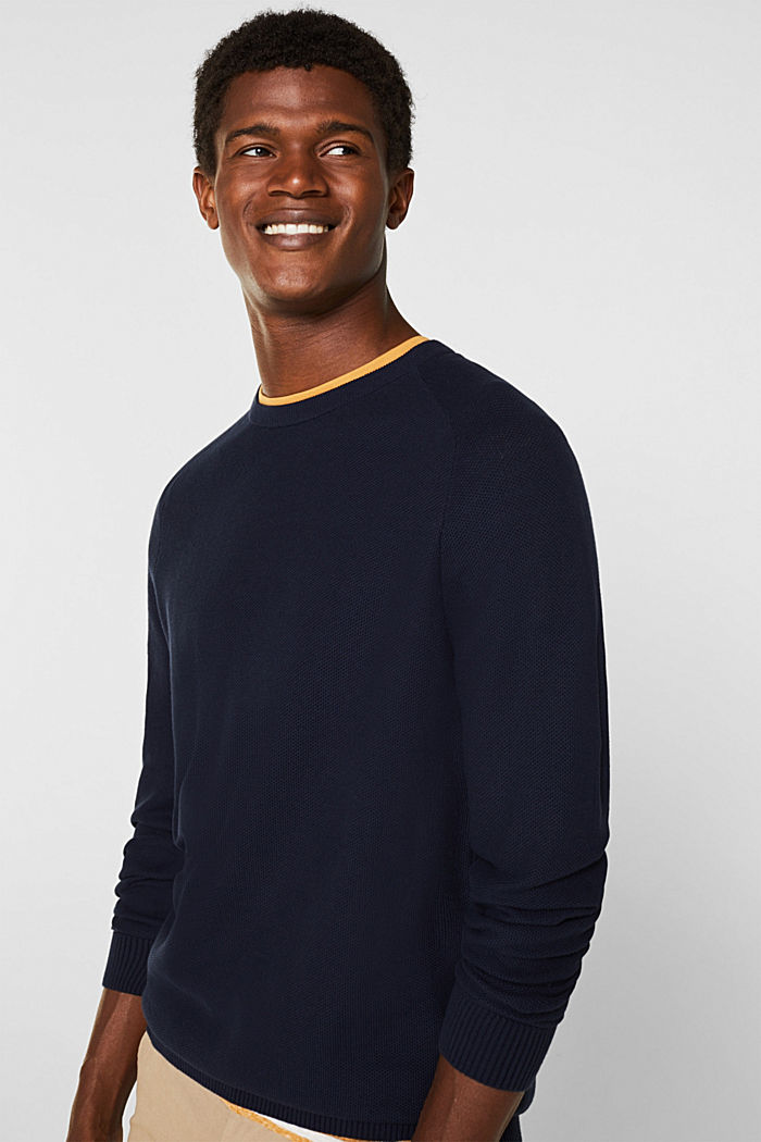Piqué-Pullover, 100% Baumwolle, NAVY, detail image number 2