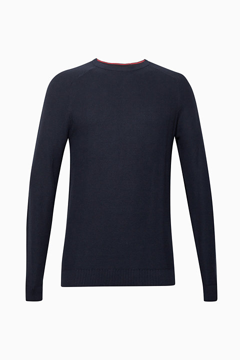 Jumper with a waffle pattern, 100% cotton