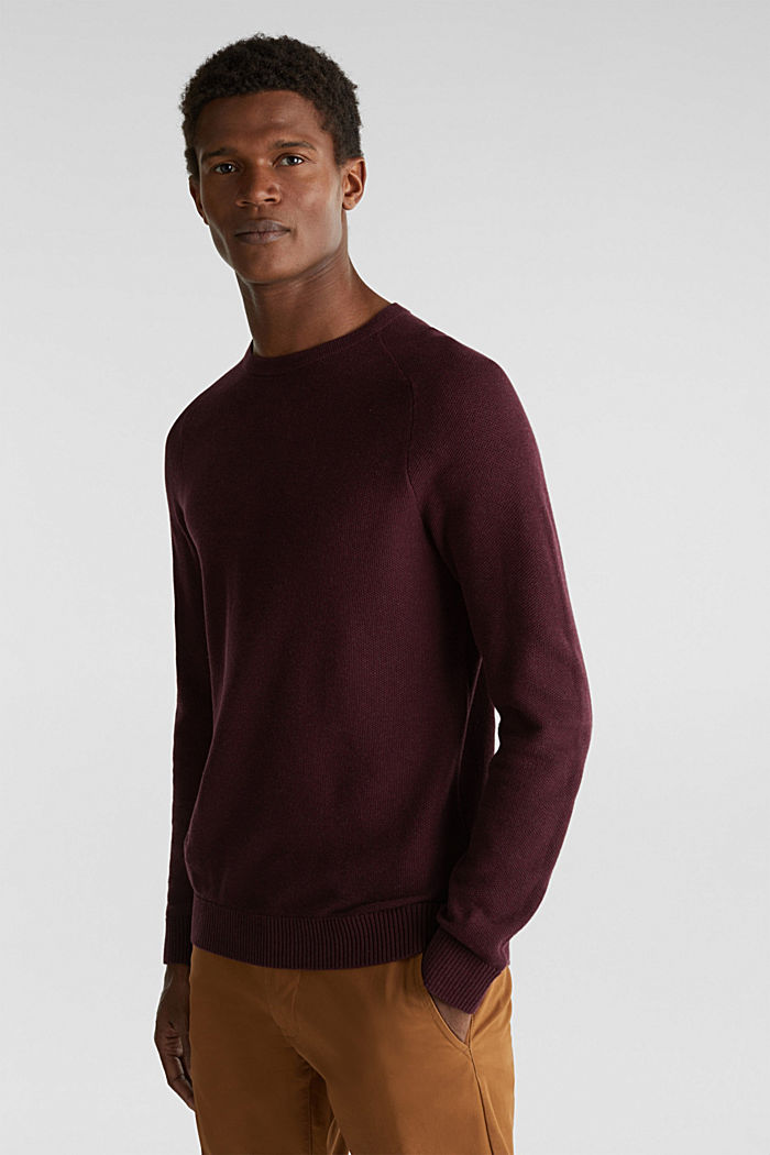 Piqué-Pullover, 100% Baumwolle, BORDEAUX RED, detail image number 0