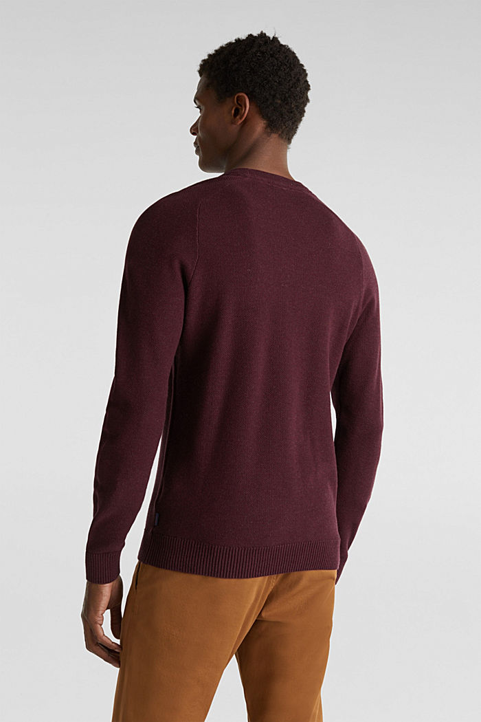 Piqué-Pullover, 100% Baumwolle, BORDEAUX RED, detail image number 2