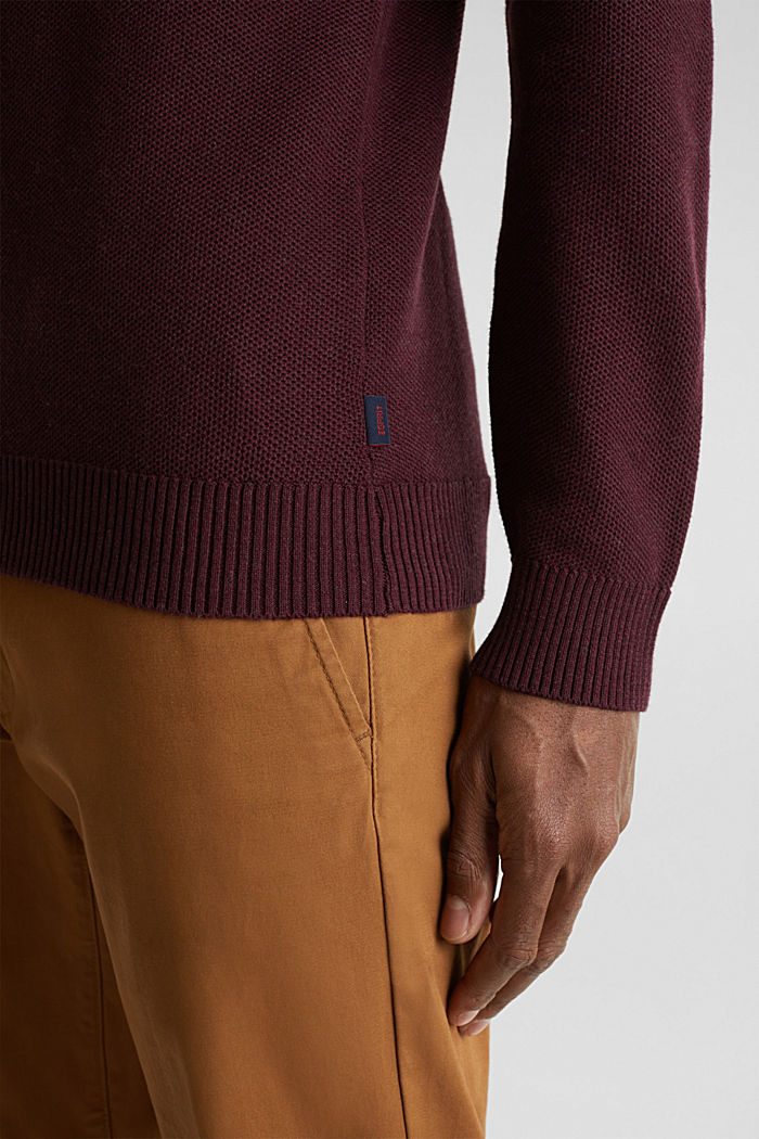 Piqué-Pullover, 100% Baumwolle, BORDEAUX RED, detail image number 1