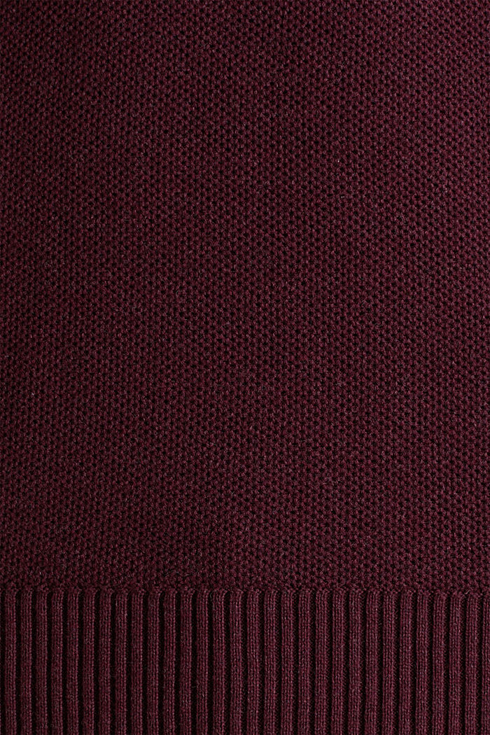 Piqué-Pullover, 100% Baumwolle, BORDEAUX RED, detail image number 3