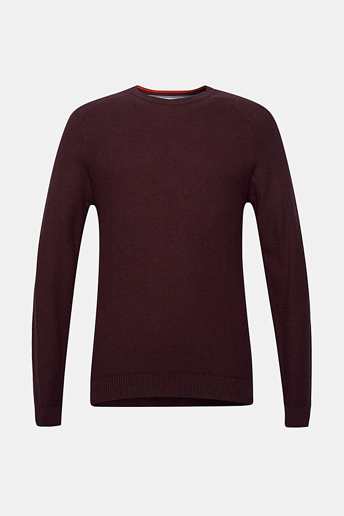 Piqué-Pullover, 100% Baumwolle, BORDEAUX RED, detail image number 5