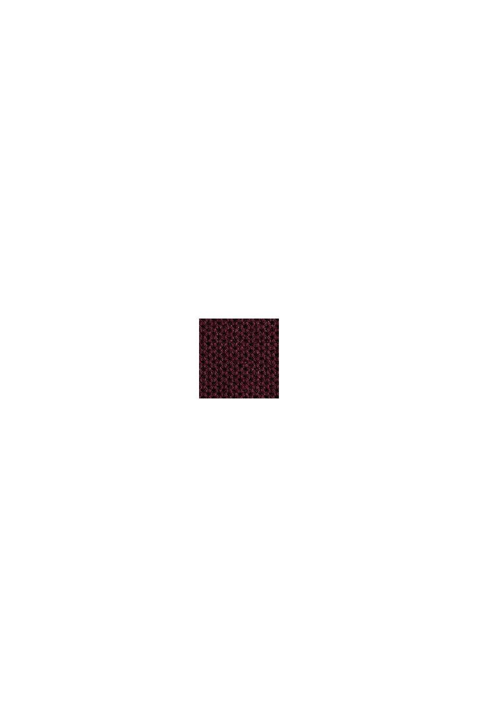Pull-over en maille piquée, 100% coton, BORDEAUX RED, swatch