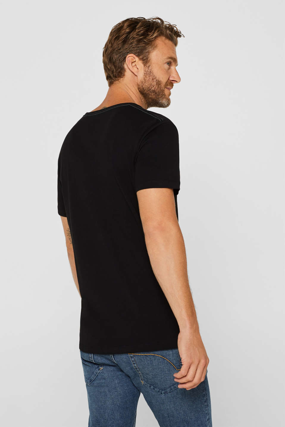 Jersey T-shirt with logo print, 100% cotton, BLACK, detail image number 3