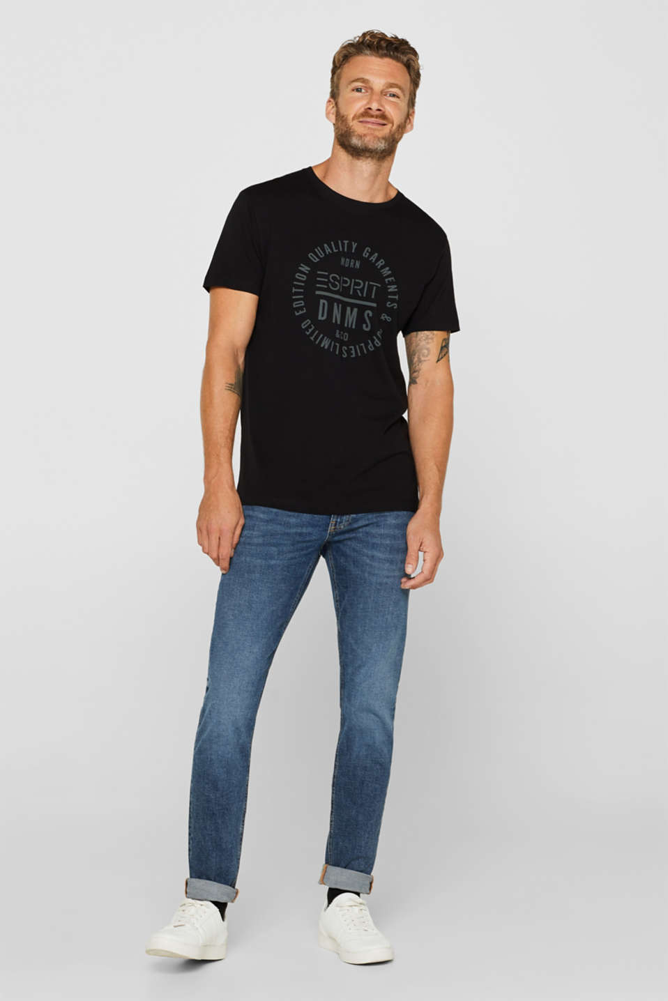 Jersey T-shirt with logo print, 100% cotton, BLACK, detail image number 2