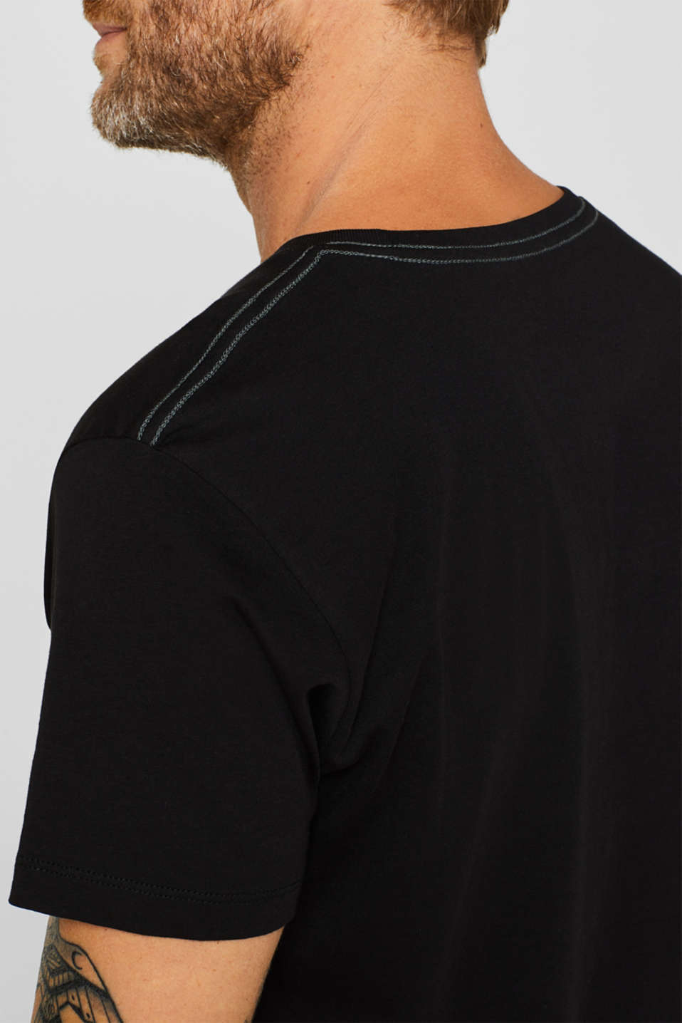 Jersey T-shirt with logo print, 100% cotton, BLACK, detail image number 1