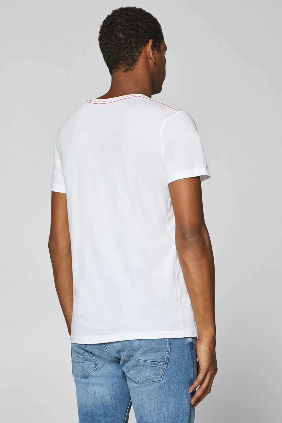 Jersey T-shirt with logo print, 100% cotton, WHITE, detail image number 3