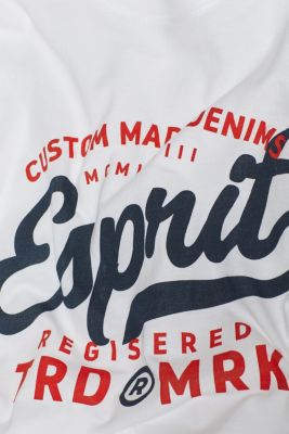 Jersey T-shirt with logo print, 100% cotton, WHITE, detail