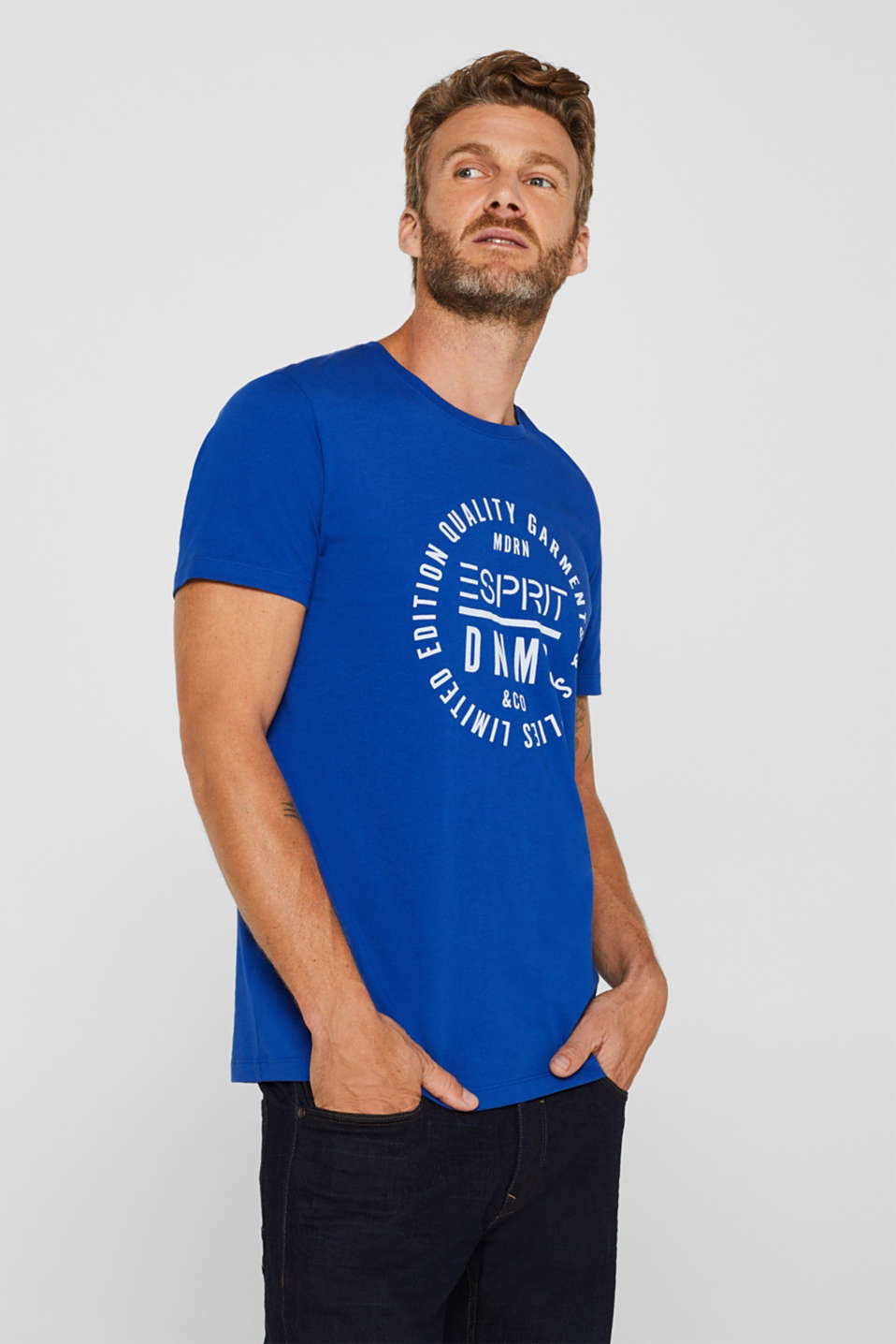 Jersey T-shirt with logo print, 100% cotton, BRIGHT BLUE, detail image number 0