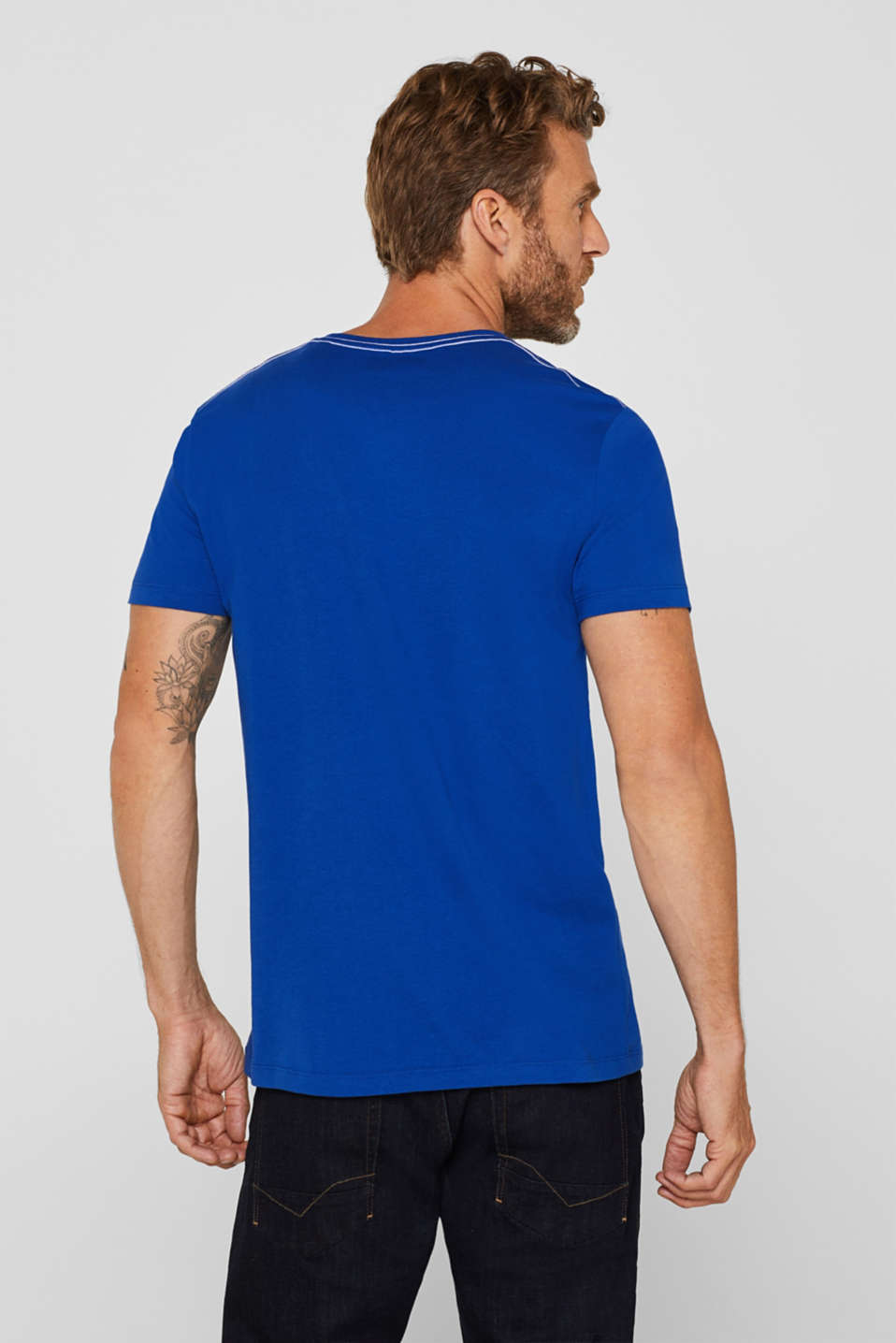 Jersey T-shirt with logo print, 100% cotton, BRIGHT BLUE, detail image number 3